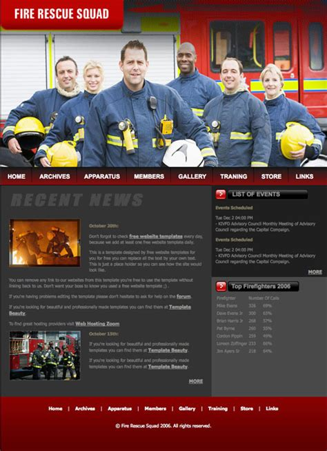 Fire Rescue Squad Template Free Website Templates Rescue Website Template