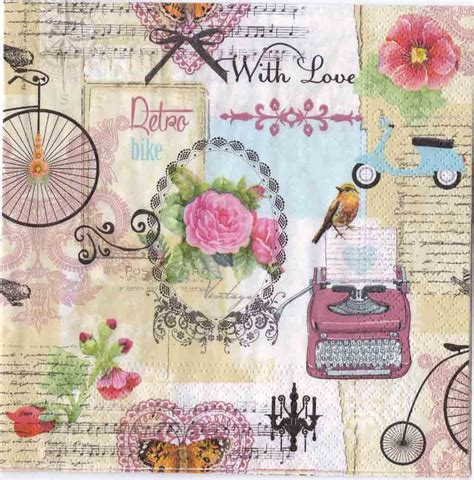 Decoupage Vintage - decoupage napkins of vintage technology bicycle typewriter