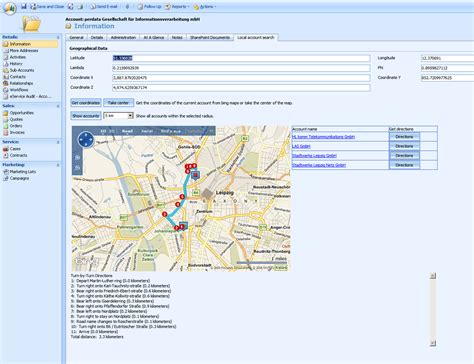 find maps and directions local account search with microsoft dynamics crm and