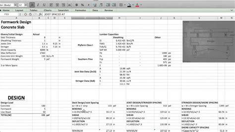 Formwork Design Spreadsheet by Formwork Design Spreadsheet Laobingkaisuo