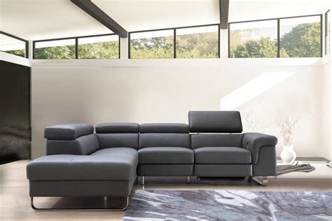 Divani Recliner by Divani Casa Chaz Modern Grey Leather Sectional Sofa W