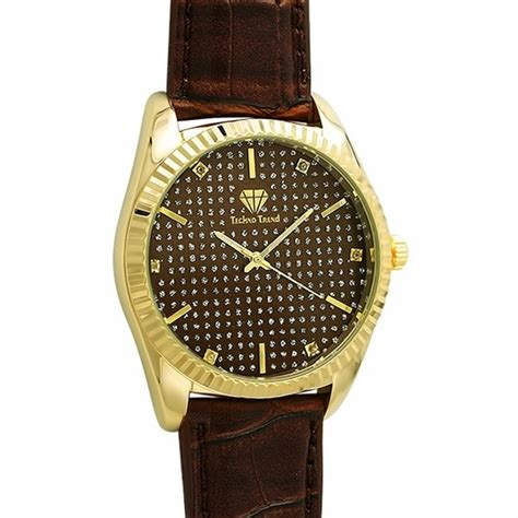 dress gold brown leather band genuine