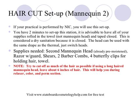 stateboard 90 degree haircut step by step state board practical set up