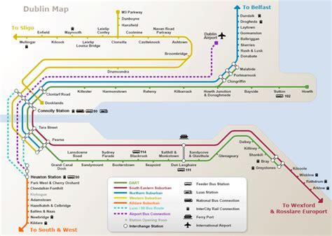 dart map dart and dublin suburban rail map irishtourist