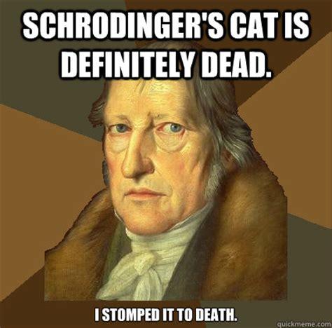 Hegel Memes - schrodinger s cat is definitely dead i stomped it to