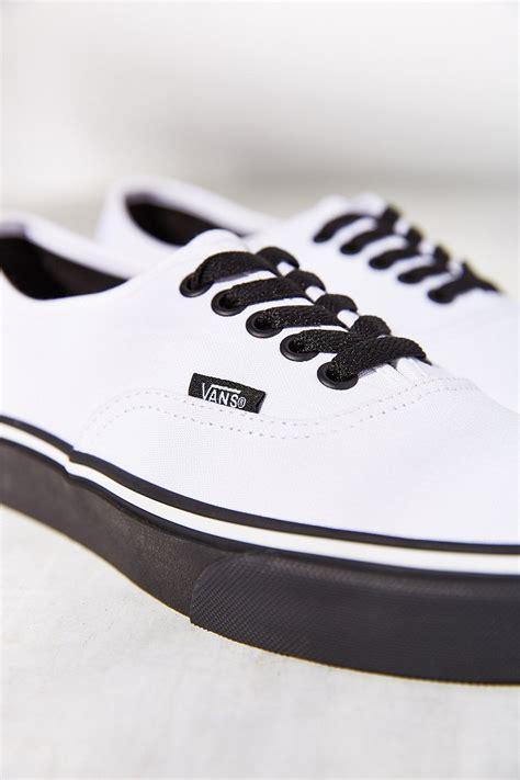 vans authentic black sale lyst vans authentic black sole sneaker in white