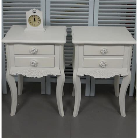 pair of white 2 drawer bedside tables shabby chic bedroom