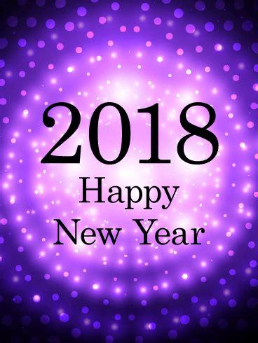 glowing 2018 happy new year purple glow happy new year card 2018 birthday greeting
