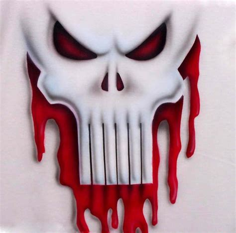 airbrushed punisher ghost skull  blood dripping