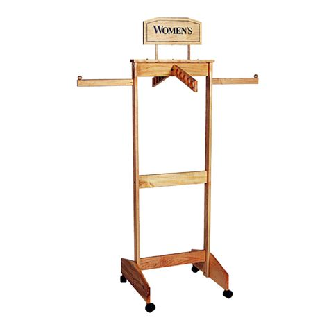 four way wooden clothing rack trio display