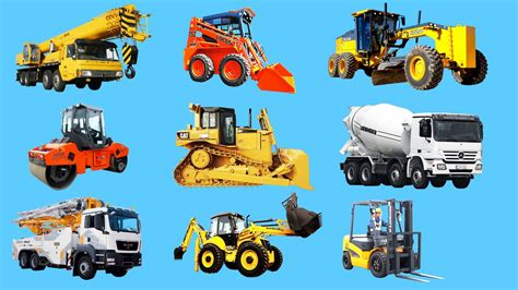 different types of cars names with pictures learning construction vehicles names and sounds for