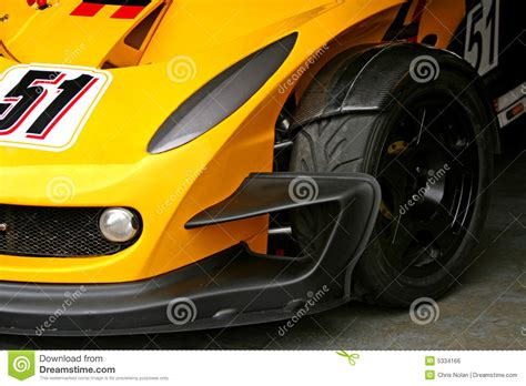 yellow race car front tyre stock photo image  trackday