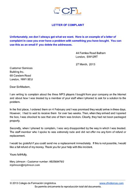 Water Complaint Letter In Sle Complaint Letter For Water Leakage Contoh 36
