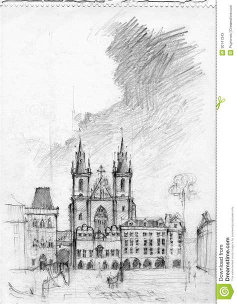 Dessin au crayon de Prague illustration stock