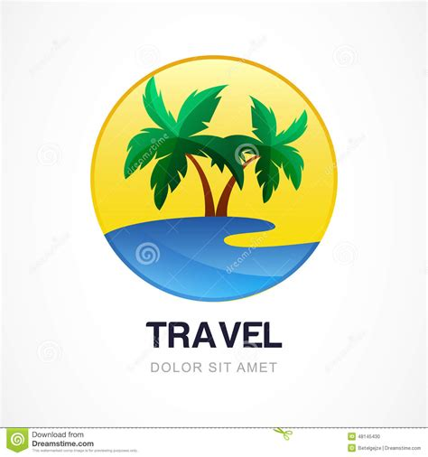 vector logo design template green palm on seaside