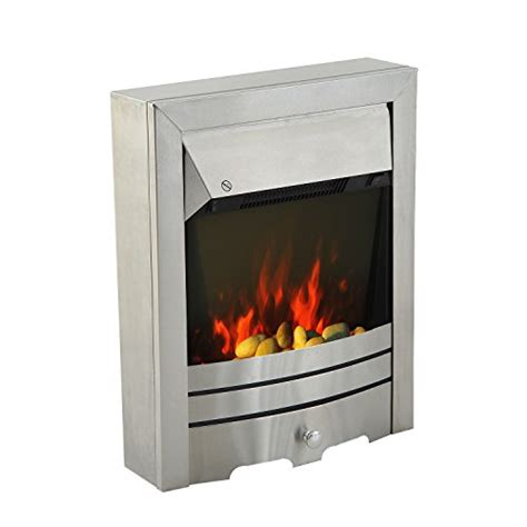 electric fireplace led lights homcom 2kw stainless steel electric fireplace pebble