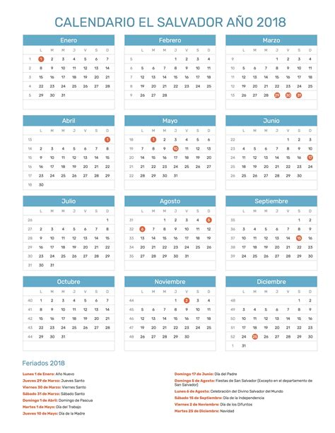 En El Calendario Calendario El Salvador A 241 O 2018 Feriados