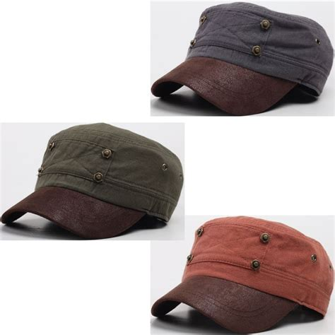 Shiny Hats Army Basic a82 faux leather brim stylish bolt patch point basic army cap cadet hat hats