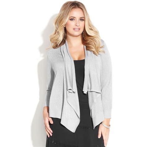 plus size draped cardigan inc international concepts plus size metallic draped