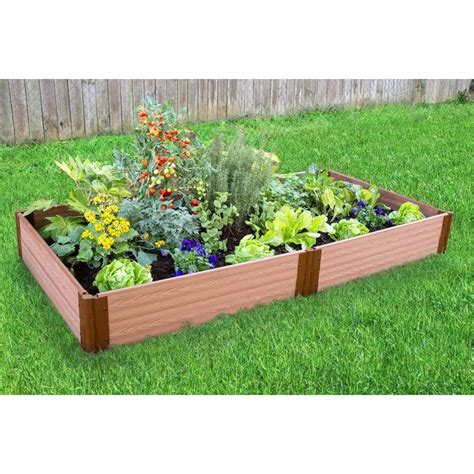 lowes raised garden bed shop frame it all 48 in w x 96 in l x 11 in h brown