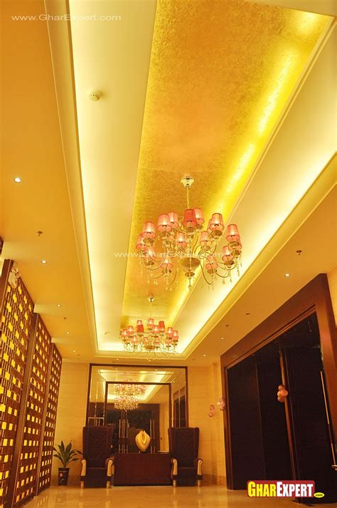 Fall Ceiling Designs For Lobby by Hotel Lift Lobby Ceiling Design Gharexpert