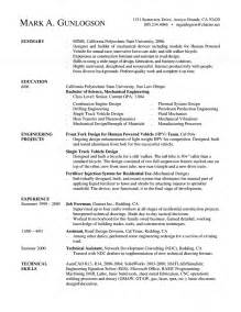 Resume Example Engineering Mechanical Engineer Resume New Grad Entry Level