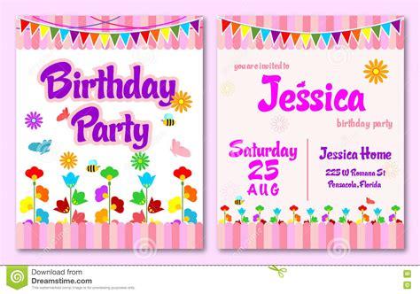 flower birthday card template pink theme flower garden birthday invitation card