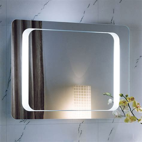 800 X 600 Backlit Bathroom Mirror Wall Mounted Demister Wall Bathroom Mirror