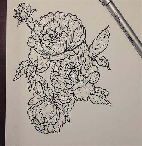 tattoo line art designs peonies design tattoos pinte