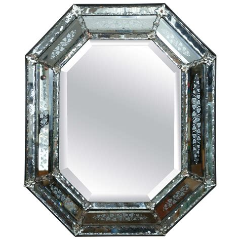 venetian mirror with mercury glass etched frame circa