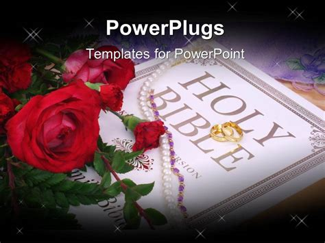 Wedding Holy Bible by Powerpoint Template Wedding Depiction With Roses
