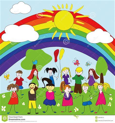imagenes de niños jugando bajo el sol merry children background with rainbow and sun stock