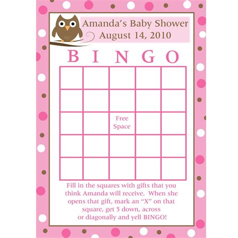 Baby Gift Bingo Template printable baby shower bingo cards pink baby owl design