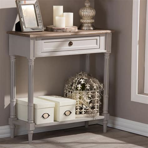 white and brown table baxton studio dauphine white and light brown storage