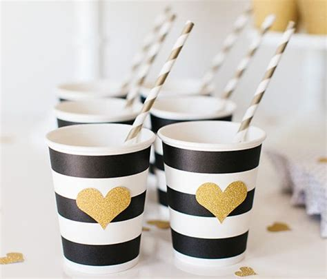 Lola Straw Cup Black 2 black white striped paper cups with gold glitter gold straws set of 12 dr