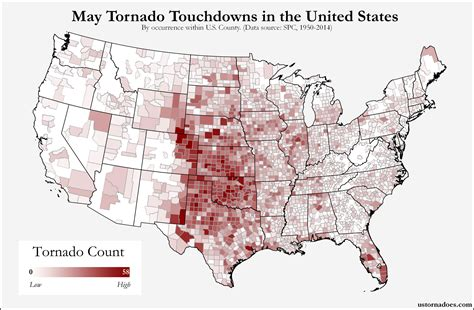 map usa states forms here s where tornadoes typically form in may across the