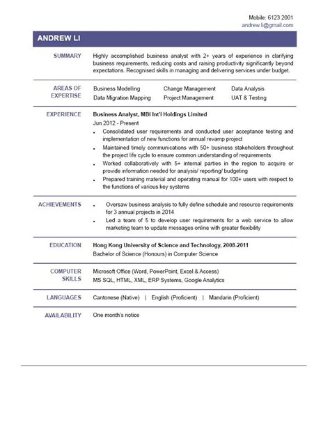 Cv In Business Business Analyst Cv Ctgoodjobs Powered By Career Times