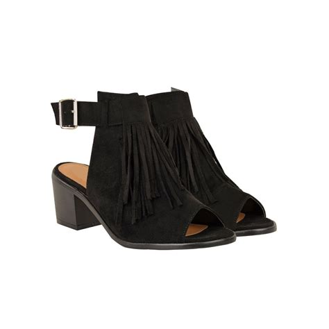 peep toe fringe boots black suede low block heel peep toe slingback fringe ankle
