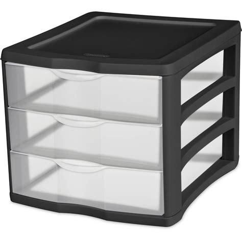 sterilite plastic drawers black plastic 3 drawer desktop storage 4 x solutions sterilite