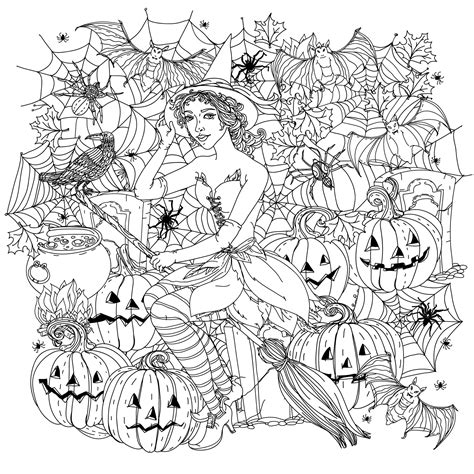 pumpkin coloring pages for adults halloween witch with pumpkins halloween adult coloring pages