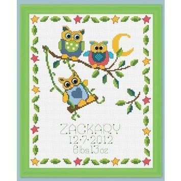 Owl Birth Record Cross Stitch Pin By Jaemi K On Cross Stitch For Baby