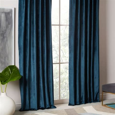 west elm velvet curtains cotton luster velvet curtain regal blue west elm