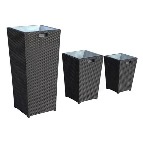 Black Rattan Planters by Rattan Planter Set In Black Ideal Home Show Shop