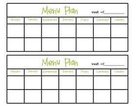 blank menu planner template blank menu planner template