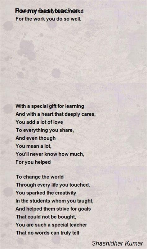 poems for my for my best poem by shashidhar kumar poem