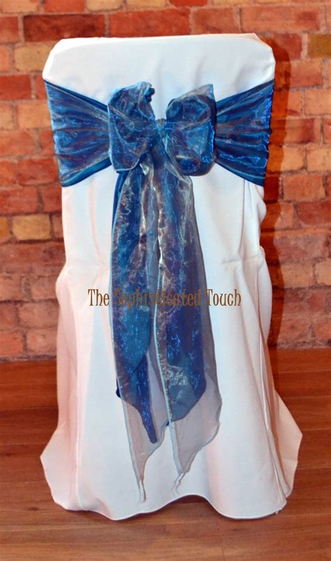 teal blue chair covers teal satin and duck egg blue organza bow on white