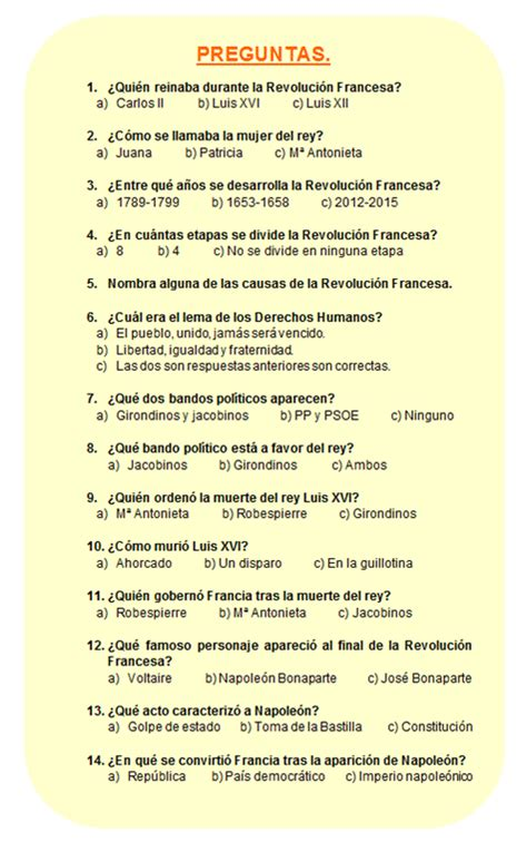 preguntas de si o no en frances la revoluci 243 n francesa actividades