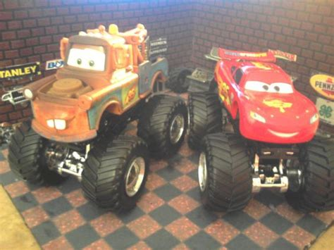 trucks on jam wheels and cars mcqueen and trucks on