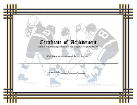 hockey certificate templates printable sports certificates sleprintable