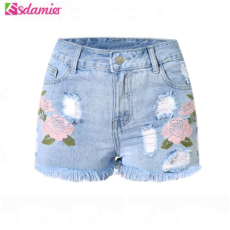 Embroidery Denim Shorts 2017 fashion embroidery denim shorts floral high waist